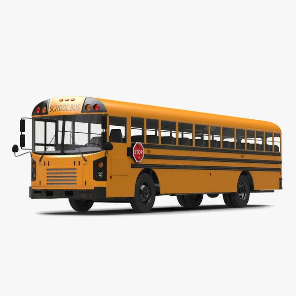 school bus simple interior obj