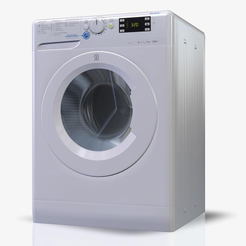washingmachine indesit nws7105l 3d model