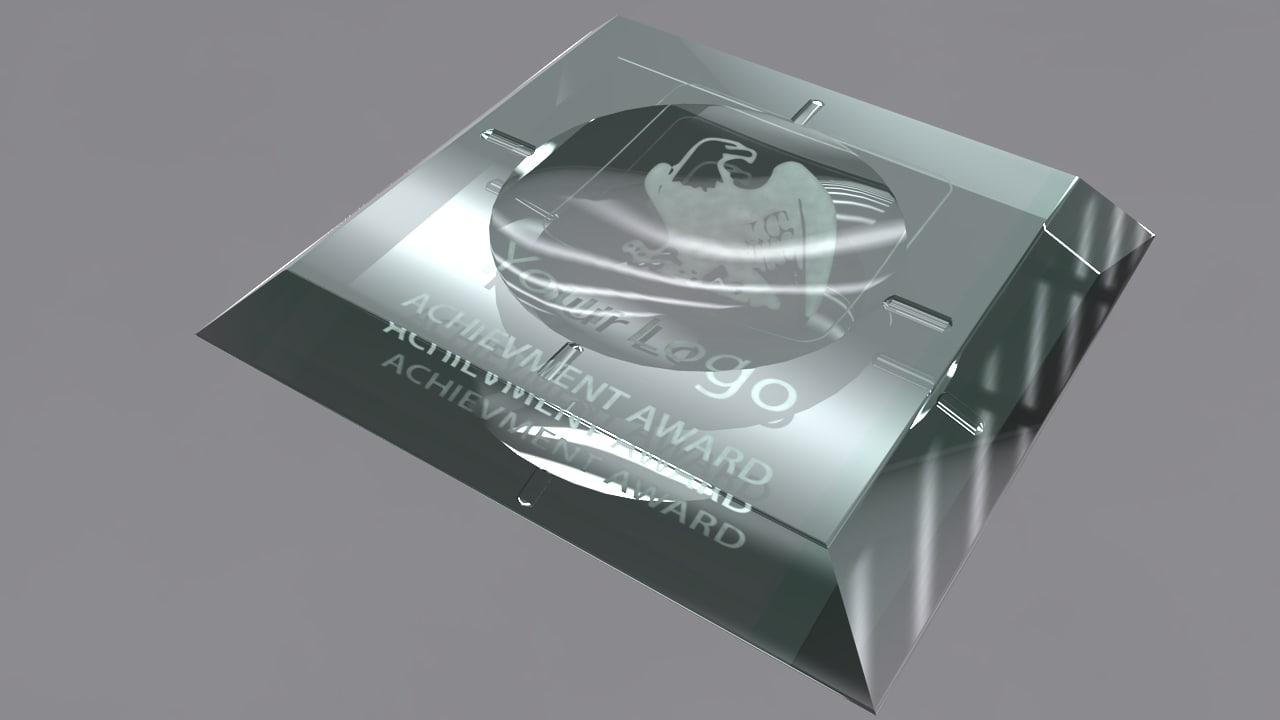 3d ashtray glass award model