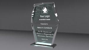 aerolite glass award 3d obj