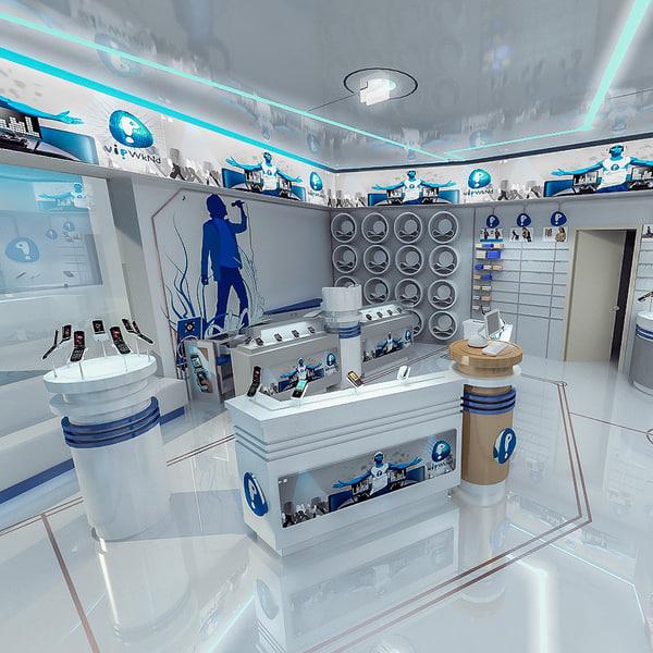 3d model mobile phones shop interior