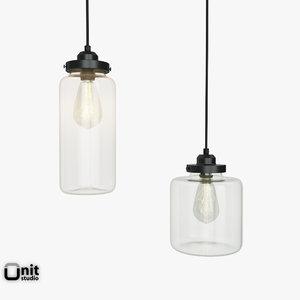 3d model glass jar pendant light