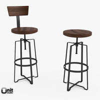 adjusted industrial rustic stool 3d model