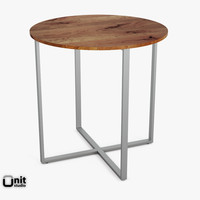rustic counter table rounded 3d dwg