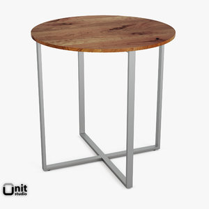 rustic counter table rounded 3d model