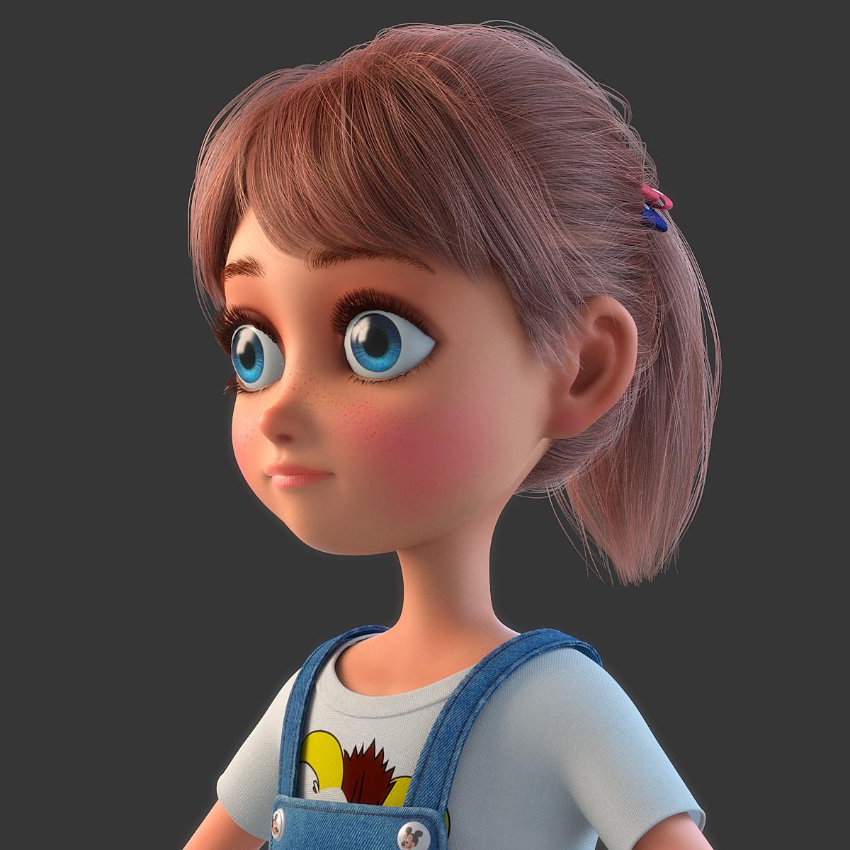 3d model of cartoon girl rigged