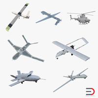 UAV 3D Models Rigged 2 Collection
