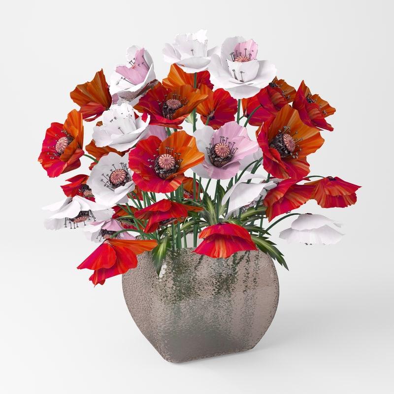 3d model bouquet poppies