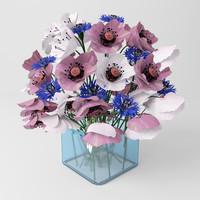 3d model bouquet poppies cornflowers