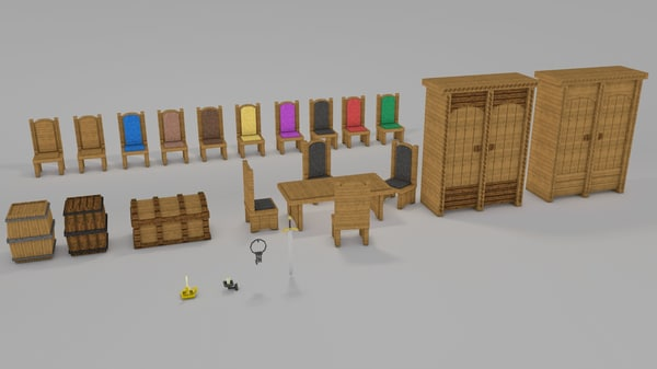 3d minecraft library models: middle ages