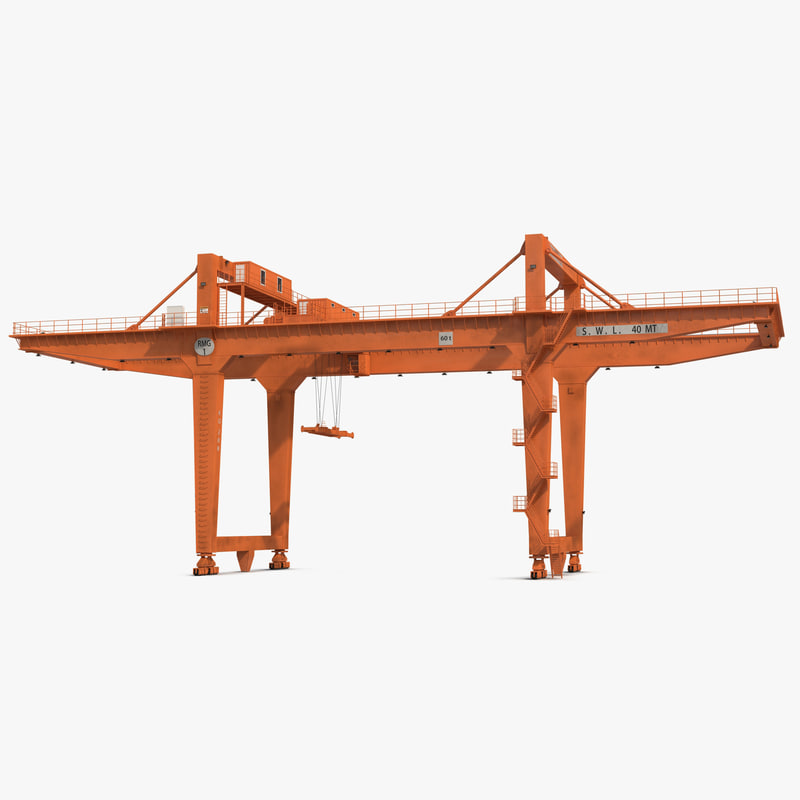 3d rail mounted gantry container crane model