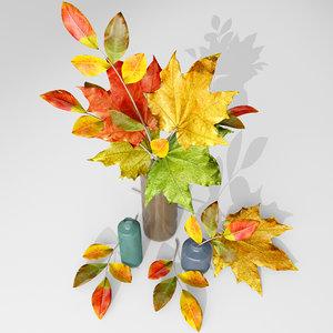 3d model leaves vase