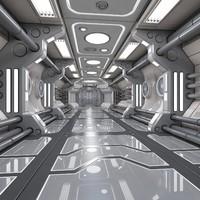 sci-fi interior scene 3d model