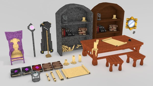 minecraft library models: middle 3d c4d