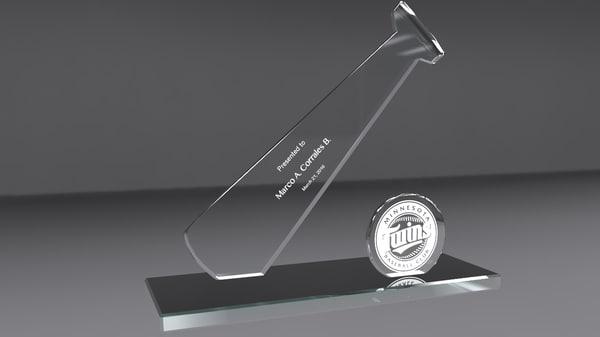 3d baseball glass award