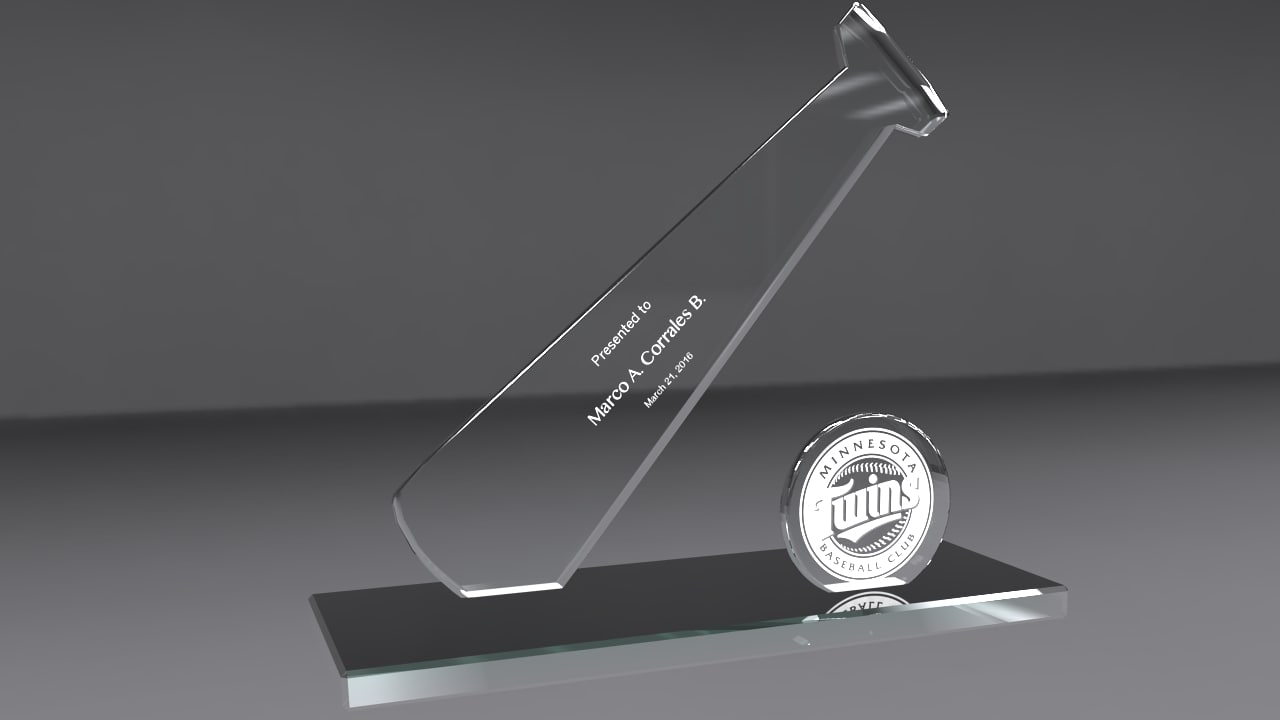 3d baseball glass award