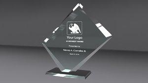 3d model of award glass