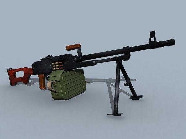 soviet kalashnikov pk pkm 3d model
