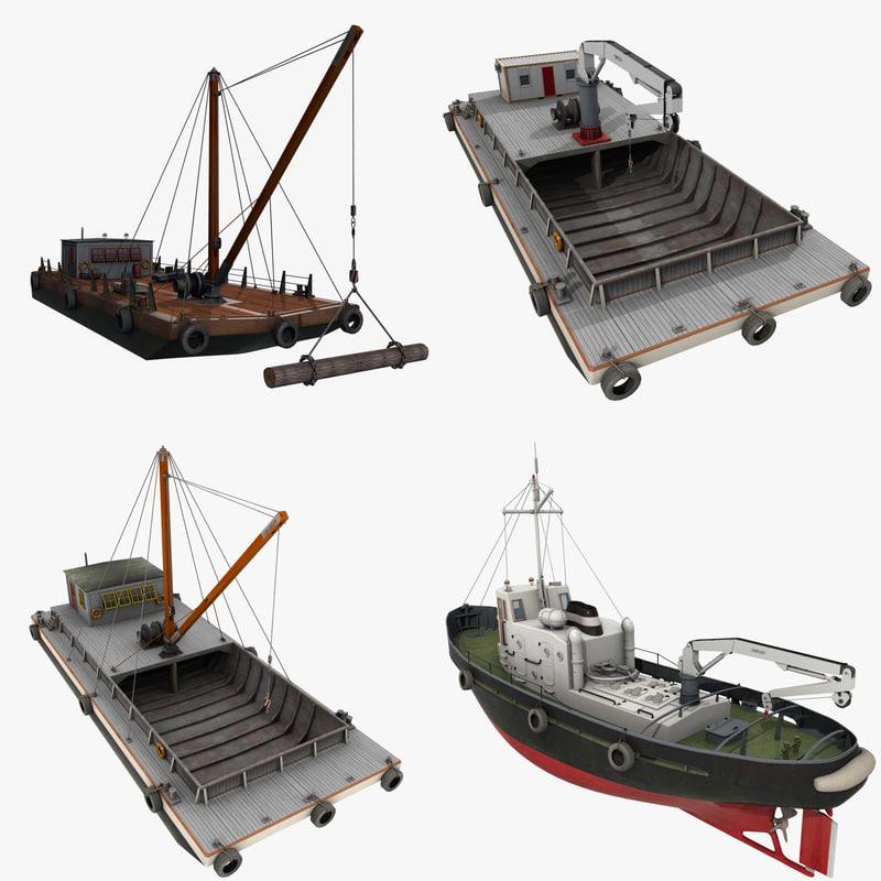 watercraft floating cranes 3ds