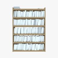 bookshelf books 3d model