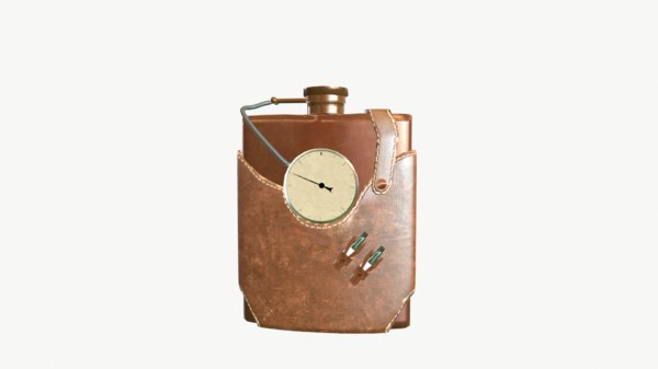 3d steampunk flask model