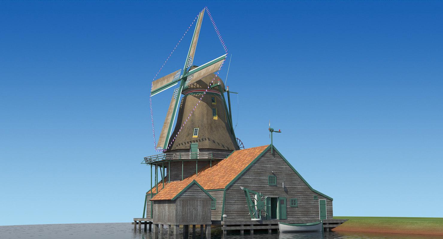 dutch windmill 3d model