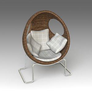 3d model garden armchair
