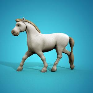 funny cartoon horse rig 3d model