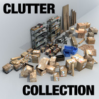 3d clutter boxes boards model