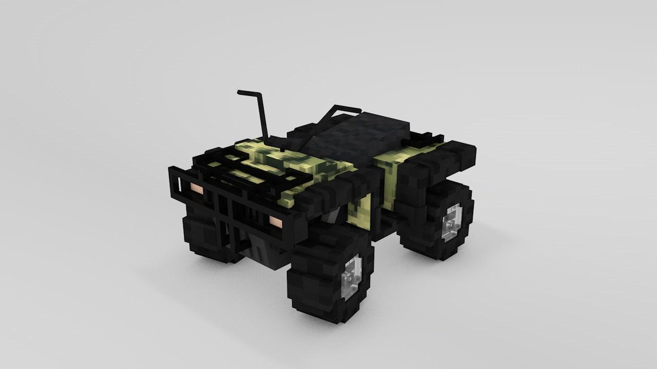 3d model of minecraft atv