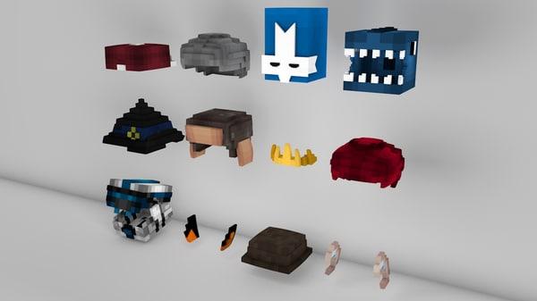 minecraft hats pack 3d c4d