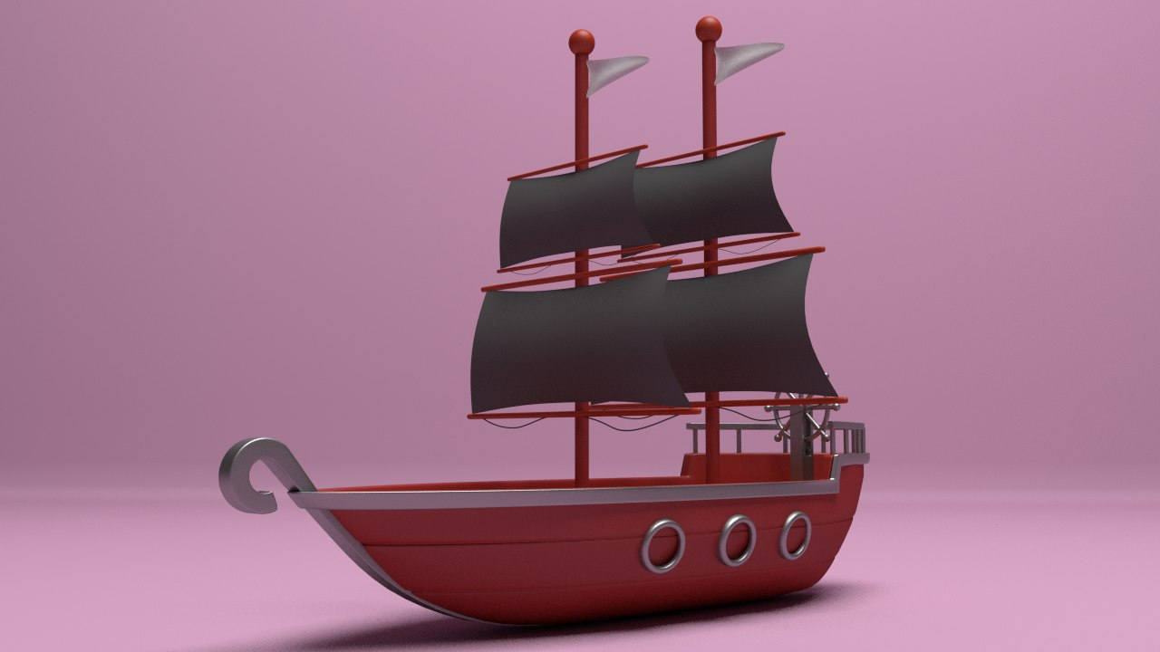 3d model of cartoon ship