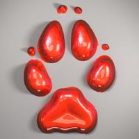 wolf footprint printing 3d max