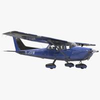 3d model cessna 172 blue