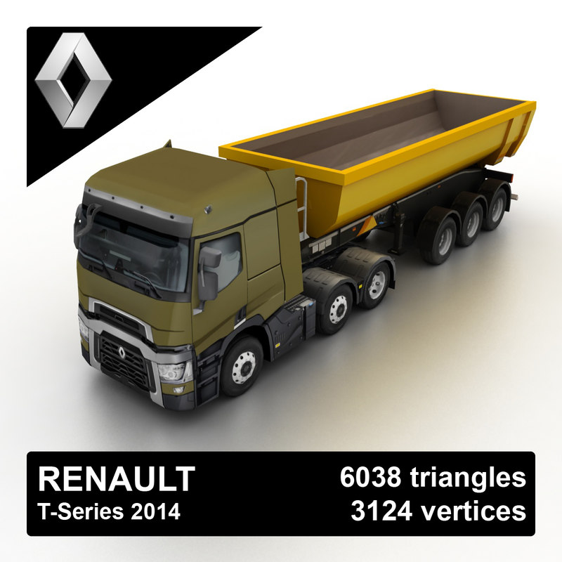 3d 2014 renault t-series tipper model