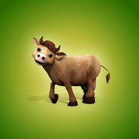 3d cartoon cow biped animation model