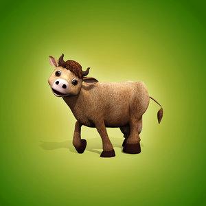 3d cartoon cow biped animation model