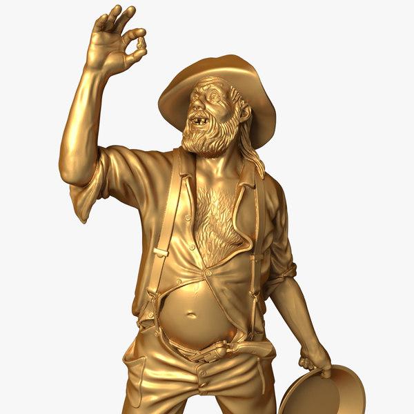 3d model gold digger figurine