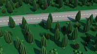 3d model lego road forest