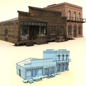 old wild west buildings 3d model