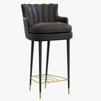 3d model brabbu plum bar chair