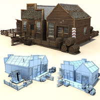 3d old wild west buildings model