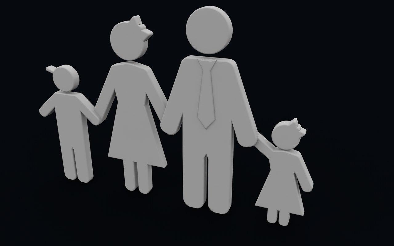 generic cartoon family 3d c4d