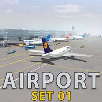 airport terminal air plane 3d model