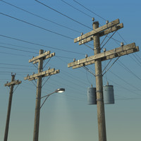 electric pole wood 3d model