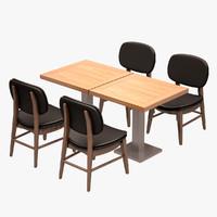 3d model cafe dinner set