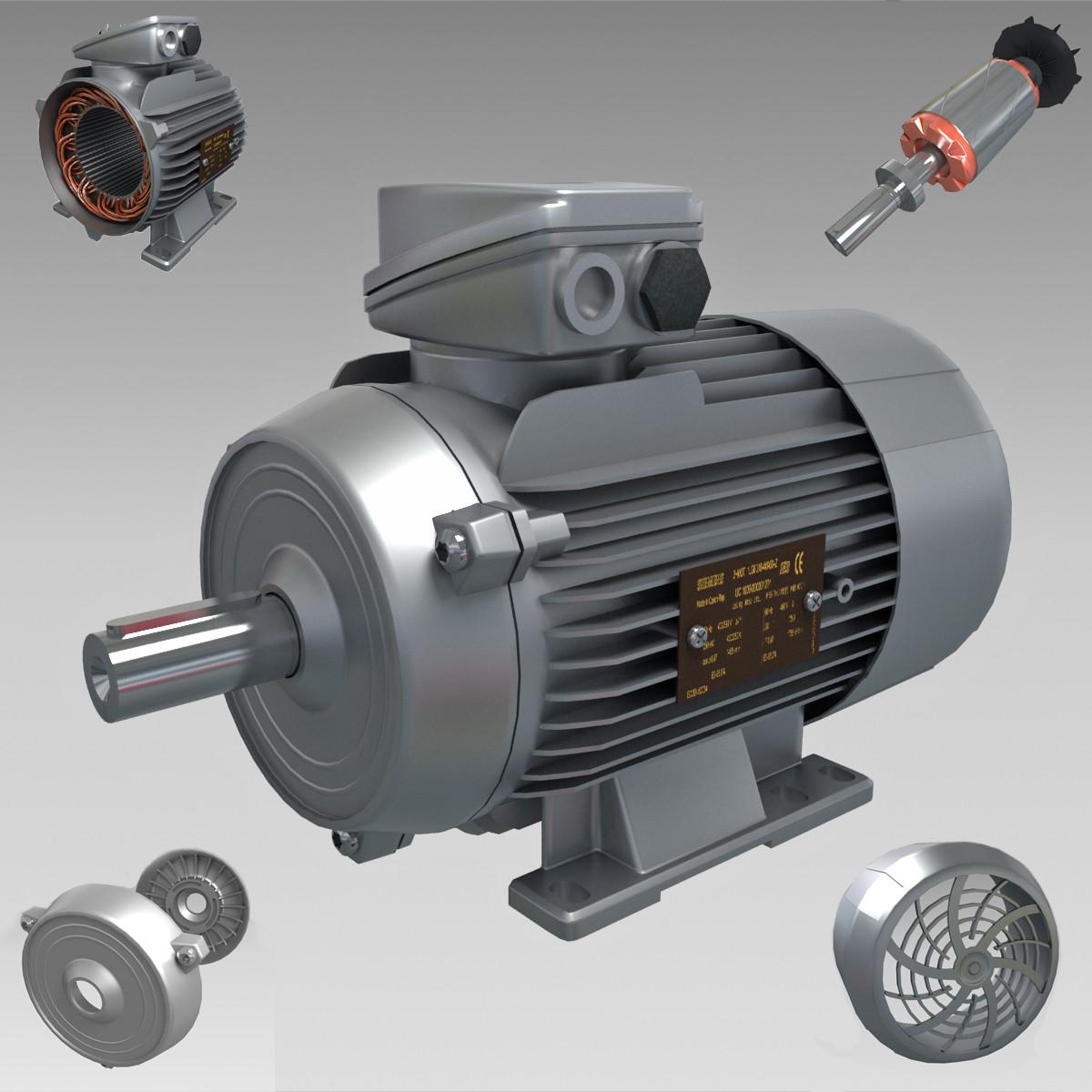 electric motor 3d max