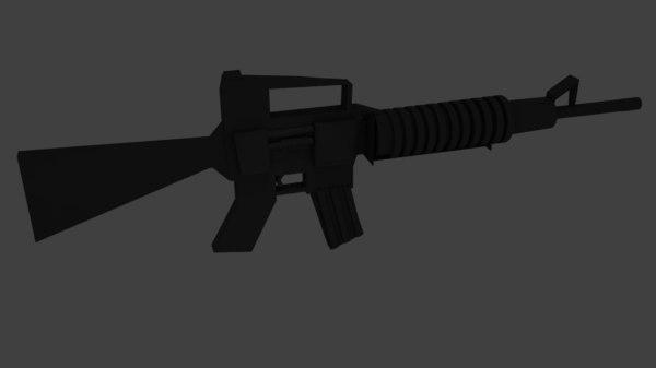 3d m-16 style rifle model