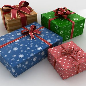 4 gift boxes set 3d max