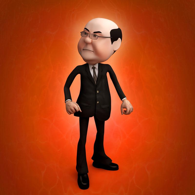 funny boss man rigged 3d model